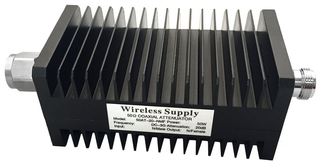 Original Image: Wireless Supply – TrueConnect – Low PIM (-153dBc) Attenuator; 20dB, 50W, DC-6GHz, w/ N Male and Female Connector