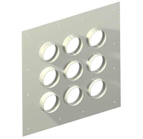 "Original Image: Site Pro – Aluminum Entry Panels 4"" Ports 23"" x 23"" OD 9 Port"